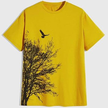 Fashion Casual Men Tree Bird Print Tee