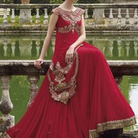 Red Georgette Unstitched Gown - GOWNS - Women