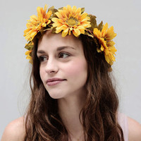 Golden Sunflower Crown. Vintage Flower Crown, Sunflower Floral Crown, Sunflower Headband,Yellow, Sunflowers, Headpiece, Tiara, Circlet