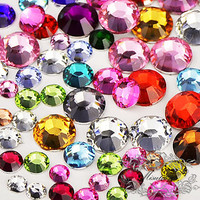 1000 PCS Mix Color Rhinestone (2mm to 10mm) 14 Faceted Round Bling Gems Assorted Sets Clear Black Pink Blue Green Purple Red Gold AB (AK.R)