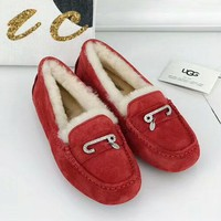UGG 2018 autumn and winter new bright diamond female fur one snow boots red