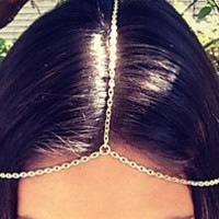 Simple Sexy head chain - perfect for wedding, prom accessory, belly dancer, gypsy boho body jewelry
