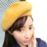 Women Popular Warm  Casual Beret Beanie Hat Cap Baggy Solid Wool Vintage Hats Beanie Spring Winter Faux Fur Hat For Female