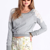 Cropped Lace Pullover By Free People - $98.00: ThreadSence, Women's Indie & Bohemian Clothing, Dresses, & Accessories