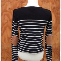 Black and White Striped Sweater with Elbow Patches