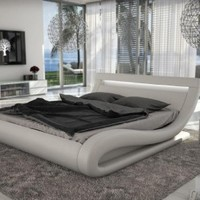 Corsica Contemporary White Leatherette Bed with Headboard Lights by VIG Furniture - Opulentitems.com