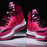 Women Pink and Black Nike Lebron 10 Basketball Shoes