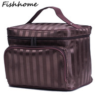 Woman Cosmetic Bags Striped Pattern Organizer Makeup Bag Folding Travel Toiletry Bag Large Capacity Storage Beauty Bag ZL900Z
