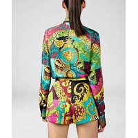 Versace Women High collar Long Sleeve Top Shorts Two-Piece