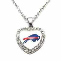 1pcs Heart Crystal Necklace Football Buffalo Bills Glass Pendant Necklace With 20 Inch Chains For Women Men Necklace Jewelry