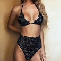 Sexy Fashion Solid Color High Waist Lace Halter Underwear Lingerie Set