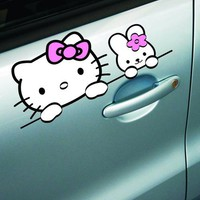 Hello Kitty Car Stickers Cute Lovely Cartoon Colorful Pink Decals PET Material Waterproof Auto Tuning Styling 16*7cm D11