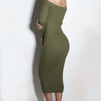 Army Green Long Sleeve Off-Shoulder Midi Dress