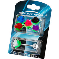 14 Gauge 6 Silicone Rose Interchangeable Barbell Pack | Body Candy Body Jewelry