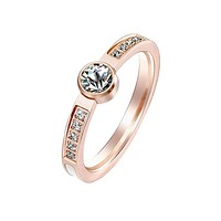 From the Heart - Women's Rose Gold IP Stainless Steel CZ Ring with Mother of Pearl Inlaid Center