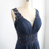 Dark Navy Prom Dress, Long Chiffon Formal Dress, Wedding Party Dress, Straps V Neck Lace Chiffon Floor Length Gown