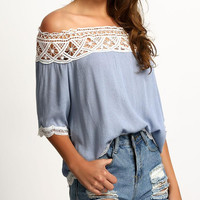 New Summer fashion Sexy  women Solid Color Off Shoulder Lace short sleeve T-shirt -0710