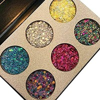 Beauty Glazed Make Up Palettes 6 Colors Glitter Injections Pressed Pigmented Glitter Eyeshadow Powder Makeup Palettes Diamond Shimmer (B22B)