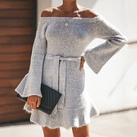 Women's Long Sleeve Solid Color Lace Sexy Off-Shoulder Dress Grey