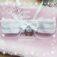 "Sweetness Alive Exclusive ""Innocent Kitten"" Collar (limited edition) featuring Swarvoski Crystal Heart with pure white satin"