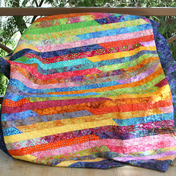 Lap Quilt, Quilted Sofa Throw, Batik Quilt, Wall Hanging, Bed Coverlet, Pink Orange Purple Jelly Roll Quilt, Handmade Quilt