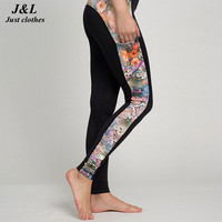 2016 Top Design Side Pocket Patchwork Elastic Sporting Leggings,New Quick Dry Skinny Leg Fitness Workout Clothing For Women