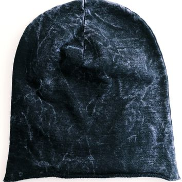 Petite Adult, Youth Beanie Hat, Black Mineral Wash