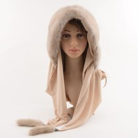 Luxury Whole Mink Fur Winter Hats For Women With Fur Pompons Multi-Use Scarf Warm Luxury High Quality Female Beanies