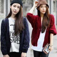 Stylish Solid Cable Knitted Long Sleeve Button Down Cardigan