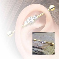 Gold Industrial Barbell Triple Crystal