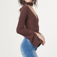 Brown Rib Knit Open Keyhole Neck Wrap Around Belt Split Sleeve Body