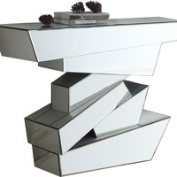 Jade Geometric Style Mirrored Console Table