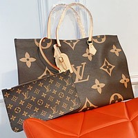 Hipgirls LV Louis Vuitton New Women Shopping Bag Leather Tote Handbag Shoulder Bag Purse Wallet Set Two-Piece