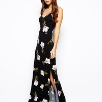 ASOS Orchid Print Mesh Paneled Maxi Dress - Black
