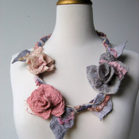 Felted Flower Statement Necklace  Faerie by realfaery on Etsy