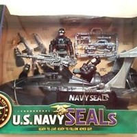 U.S. Navy Seals Play Set 2 Action Figures Water Craft Gear Official Licensed New