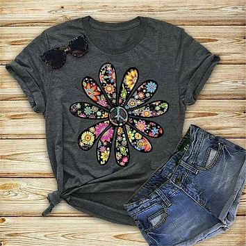 Peace & Sunflowers Ladies Fit Graphic Tee
