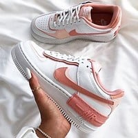 Nike Air Force 1 Shadow Fashion Women Casual Classic Sport Running Shoes Sneakers White & Pink