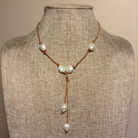Leather And Freshwater Baroque Pearls Necklace With Natural Leather And Pearl Tassel