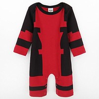 Baby Boys Deadpool Costume Romper Infant Outfit Newborn Long Sleeve Party Playsuits Toddler Overall