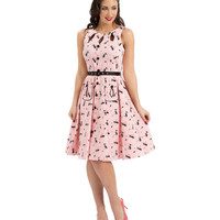 Voodoo Vixen Retro Kitty Print Flare Dress