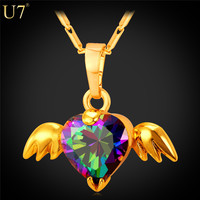 U7 New Angel Wings Necklace For Gift Romantic 18K Real Gold Plated Colorful Crystal Necklace Pendant Women Heart Jewelry P778