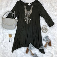Simplicity is Key Tunic Dress: Dark Olive