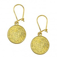 Minoan Phaistos Disk ~ Silver/24K Gold Plated Earrings -S