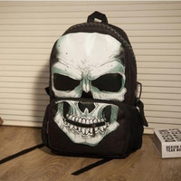 Black +white 108 women men nylon skull book bag school shoulder bag backpack (Size: L, Color: Black) = 1697288708