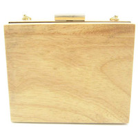 Khaki Colored Wood Clutch Bag with Holder