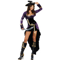 Hot sell Pirates of the Caribbean Costumes ,Extravagant spider web Sexy Pirate Cosplay  female Halloween Costumes