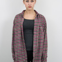 Vintage Red and Brown Plaid Flannel Shirt