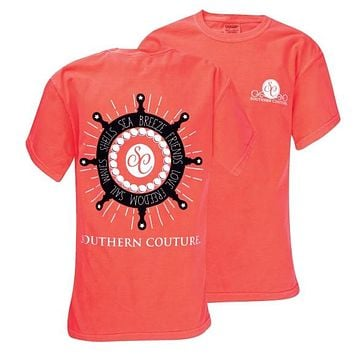 SALE Southern Couture Pearls Nautical Wheel Comfort Colors Red Orange Girlie Bright T Shirt