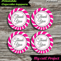 """Thank you - Cupcake toppers - Fuchsia - Instant Download - Party printable - Party favor - Candy Bar - 5 cm / 2"""""""